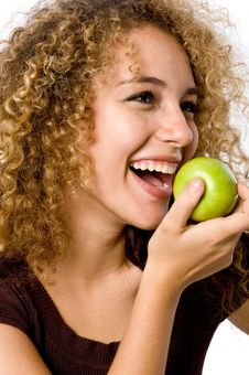 Free Girl Eating Apple Stock Photo - 4957500
