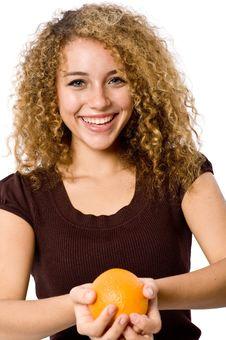Free Girl Holding Orange Royalty Free Stock Image - 4957516