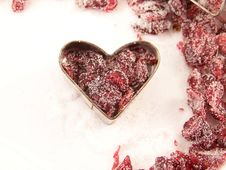 Dried Cranberries  And Sugar Royalty Free Stock Images