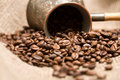 Free Cezve With Freshly Roasted Coffee Beans Royalty Free Stock Photography - 4960957