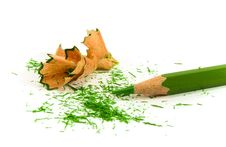 Free Green Pencil And Sawdust Stock Photos - 4960713