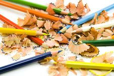Free Coloured Pencils And Sawdust Royalty Free Stock Photography - 4960727