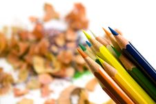 Free Pencils Over Sawdust Background Royalty Free Stock Photos - 4960728