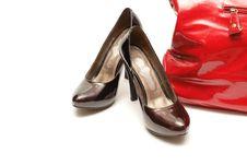 Women Shoes And Handbag Stock Photography