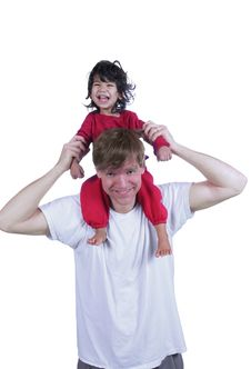 Free Father Carrying Son On His Shoulders Royalty Free Stock Images - 4961609