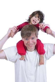 Free Father Carrying Son On His Shoulders Stock Photography - 4961622