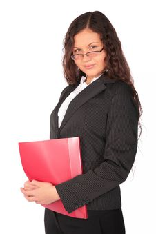 Free Brown-haired Woman With Red Folder Stock Photography - 4961892