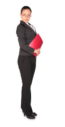 Free Brown-haired Woman Stands With  Red Folder Stock Image - 4961931