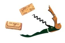 Free Corkscrew With Two Corks Royalty Free Stock Photo - 4962005