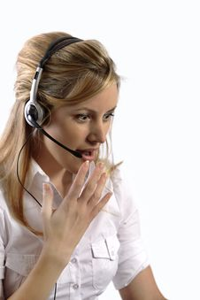 Free Surprised Blonde Telephone Customer Support Lady Stock Images - 4962234