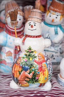 Painted Toy Snowmans Royalty Free Stock Image