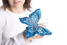 Free Young Woman Holding Blue Butterfly Royalty Free Stock Photos - 4962598