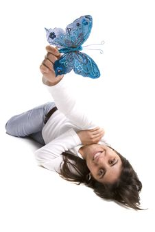 Free Beautiful Young Woman Holding Blue Butterfly Royalty Free Stock Photography - 4962607