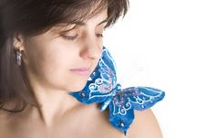 Free Beautiful Young Woman With Blue Butterfly Royalty Free Stock Images - 4962619