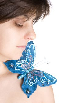 Free Beautiful Young Woman With Blue Butterfly Stock Photos - 4962633