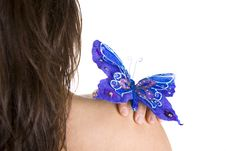 Free Beautiful Young Woman With Blue Butterfly Stock Images - 4962634