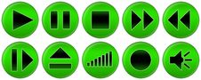 Free Set Of Green Buttons For Music Player Stock Images - 4962924