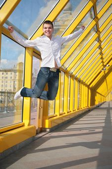 Young Man Jumps Royalty Free Stock Photography