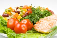 Free Stake From A Salmon With Vegetables Stock Photos - 4963123