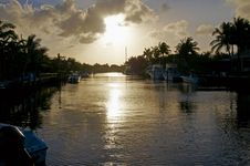 Free Golden Canal Sunset Royalty Free Stock Images - 4963489