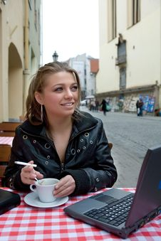 The Student In Cafe Street In Old City Stock Image