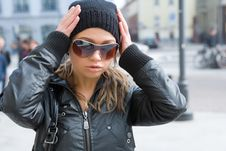 Free The Girl In Dark Glasses Royalty Free Stock Photography - 4964417