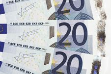 Money - 20 Euro Notes Detail Stock Images