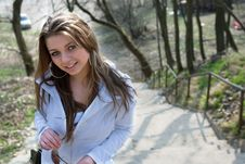 Free The Girl In A White Raincoat Stock Photo - 4964550