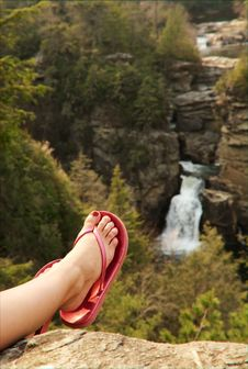 Free Woman S Foot And Leg Before Waterfall Stock Photography - 4964912