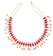Free Golden Necklace With Red Gems Royalty Free Stock Photo - 4965755