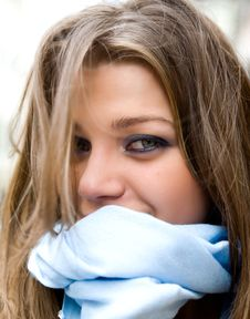 Portrait Of The Young Girl With A Blue Scarf Stock Image