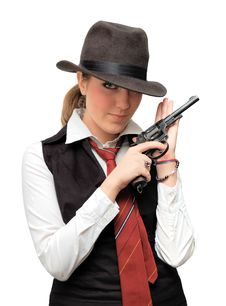 Beautiful Girl With Gun Stock Images