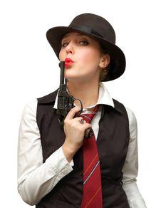 Beautiful Girl With Gun Royalty Free Stock Photography