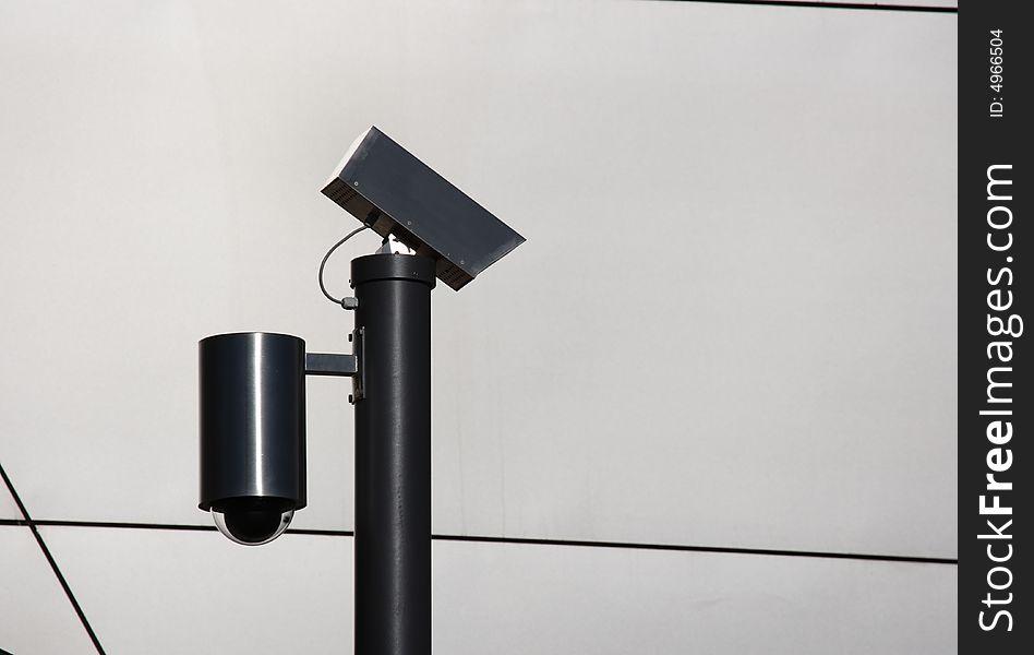 Security cameras silhouette