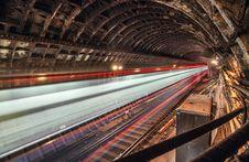 Train In Tunnel Subway Stock Photo