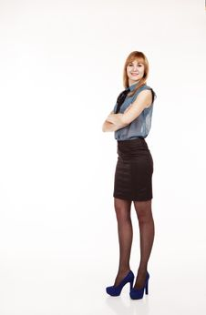 Free Young Beautiful Woman In Blue Blouse And Black Skirt Stock Photos - 49620063