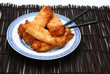 Free Spring Rolls On Plate With Chopsticks Royalty Free Stock Photography - 4970457