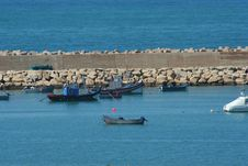 Free Blue Fishing Boats In Harbor Royalty Free Stock Photography - 4972537