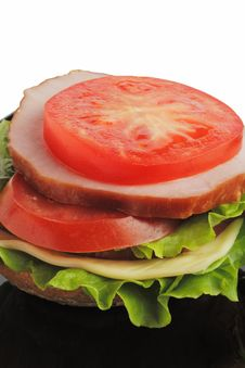 Free Sandwich On A Black Plate. Variant Three. Royalty Free Stock Photography - 4973197