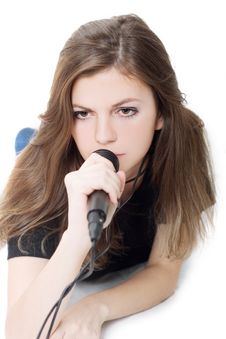Free Lady With A Microphone Royalty Free Stock Photography - 4973787