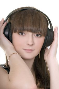 Free Cute Brunette With Earphones Stock Photo - 4973810