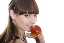 Free Lady With An Apple Stock Photos - 4973913