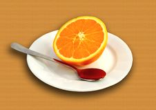 Orange On Plate With Spoon Royalty Free Stock Photos