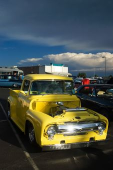 Free Antique Yellow 50s Hotrod Pickup Truck Royalty Free Stock Photos - 4974568