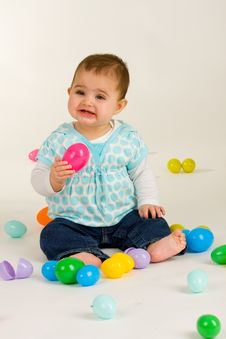 Free Baby Happy About Easter Eggs 4 Royalty Free Stock Photos - 4974768