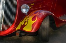 Free Red Hotrod Car With Flames Stock Images - 4975084