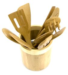 Free Bowl Of Wooden Utensils Royalty Free Stock Photos - 4976008