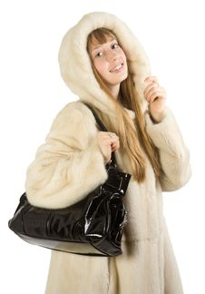 Free Pretty Young Girl In Fur Jacket Taking Bag Royalty Free Stock Photos - 4976868