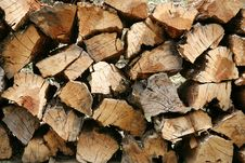 Firewood Stocked And Piled Royalty Free Stock Photo