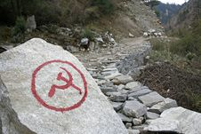 Free Communist Inscription On Rock In Nepal Stock Photos - 4977793